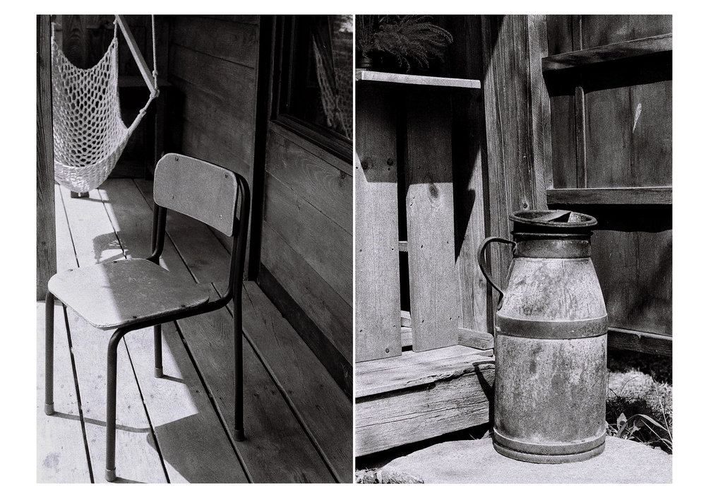 Left: A chair salvaged from a local school that closed down. Right: Found object.