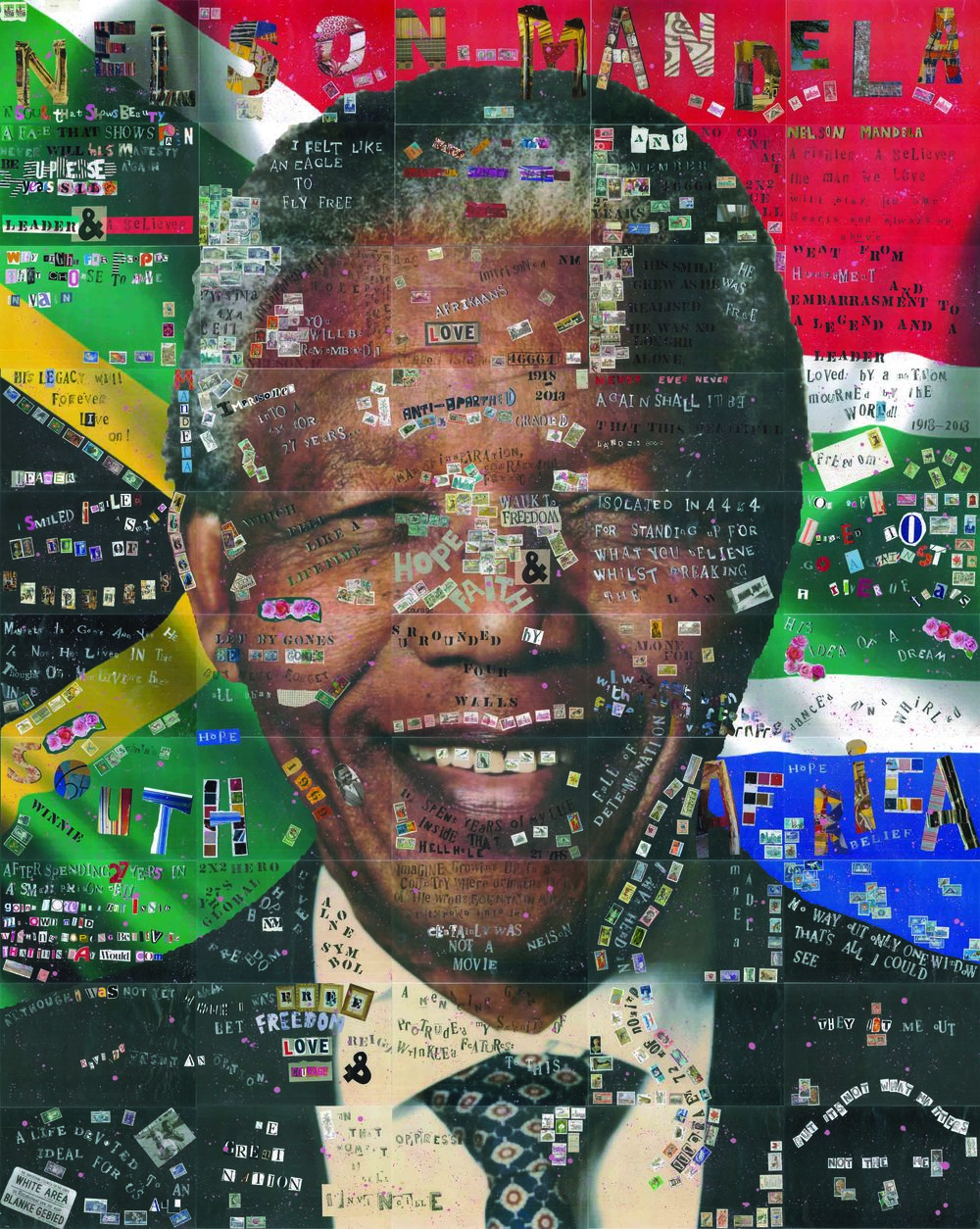 This piece was created by the Lea Manor English department. creative writing inspired by Nelson Mandela led to a group collage piece which currently hangs in the atrium.