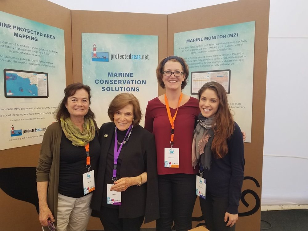 At IMPAC4 Chile:  Susana Claro, Fundacion Los Choros; Sylvia A. Earle, Mission Blue founder; Jennifer Sletten, Protected Seas; and Michelle Bender, ELC