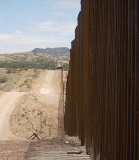Border Wall dividing Sasabe, Arizona, U.S. from El Sásabe, Sonora, Mexico. Photo by J. Brun