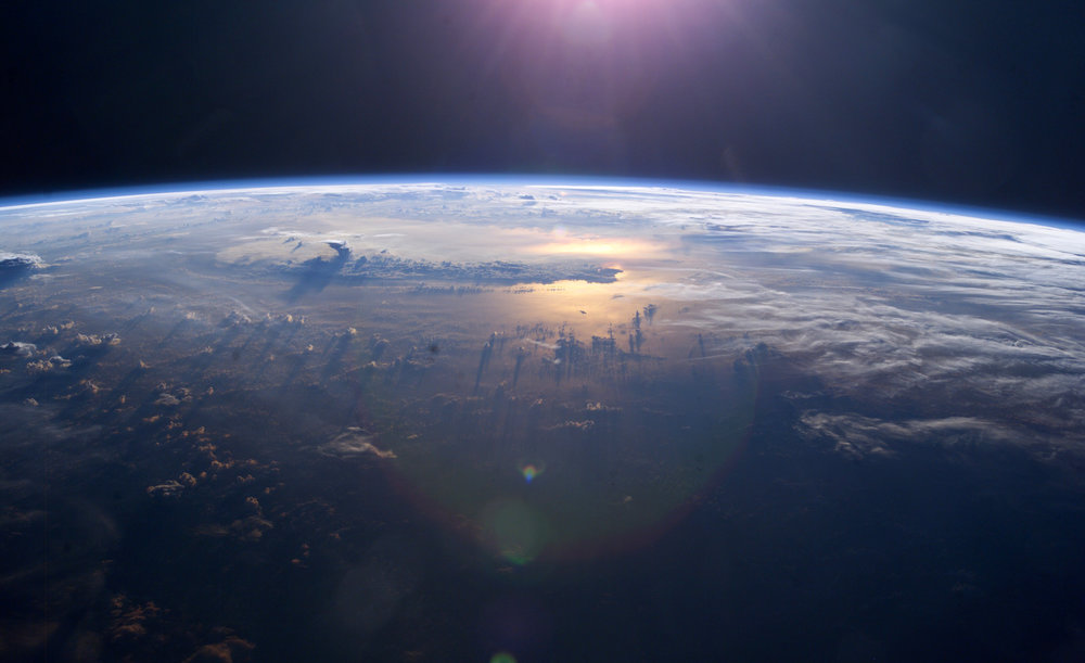Sunset on the Pacific Ocean as seen from the International Space Station. Photo Credit:  NASA