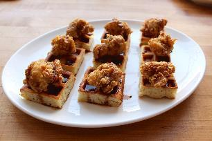 Fried Turkey & Waffle Bites - with Sriracha Maple Drizzle
