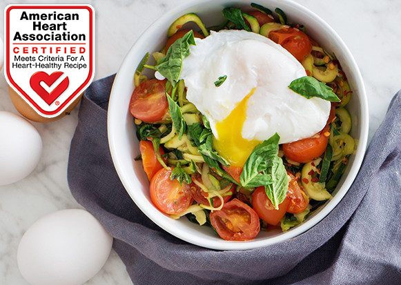 zucchini noodles with poached egg topper