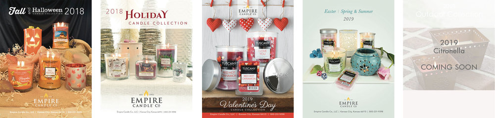 Seasonal Catalogs - Includes Tuscany Candle, Enticing Aromas and Hallmark Candle collections featuring premium fragrances, warmers and outlets, and novelty items. Call 800-231-9398 for details.
