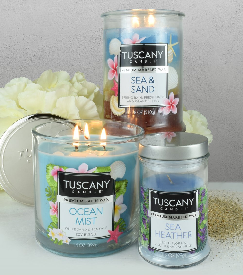 Same great candle, now with a great new look - Our re-designed Tuscany candles are the perfect addition to any home decor. Bright wax colors and strong fragrances are sure to transform any space into an oasis.