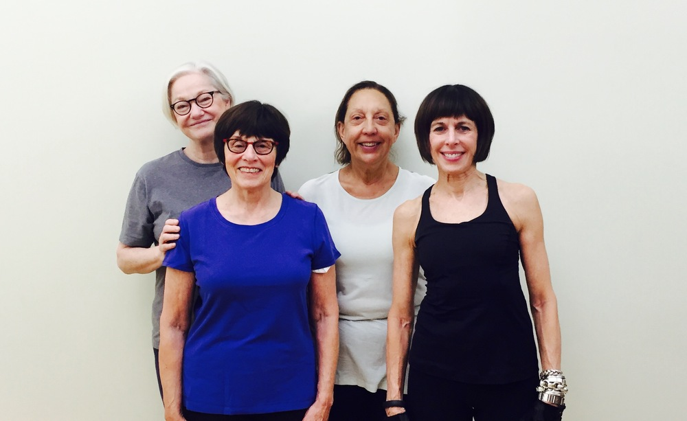 From Left: Jacquie, Sharon, Lynn & Freema after Mat Class in NYC 2016