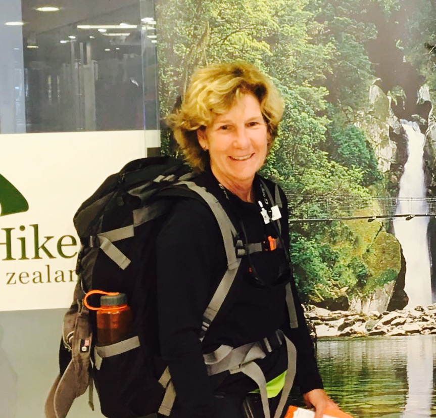 Gail B. about to embark on a hike in New Zealand 2016