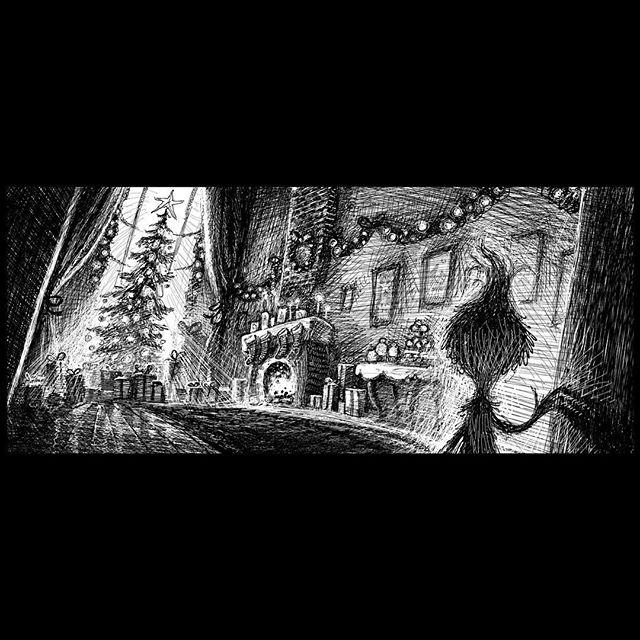 Little Grinch's Christmas wish. Poor little fellow. 💚 . . #grinch #thegrinch #younggrinch #grinchmovie #thegrinchmovie #concept #conceptart #animation #conceptsapp #art #digitalart #dailyart #design #drawing #draw #character #cute #instagood #love #instamood #instadaily #Christmas #blackandwhite