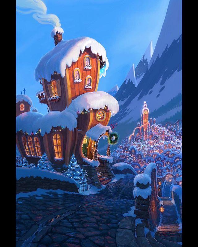 Cindy-Lou's house concept painting. ⠀⠀ #grinch #thegrinch #grinchmovie #thegrinchmovie #concept #conceptart #animation #photoshop #photoshopart #art #digitalart #dailyart #design #setdesign #instamood #grinchmas #christmas #instadaily #instagood #christmaslights