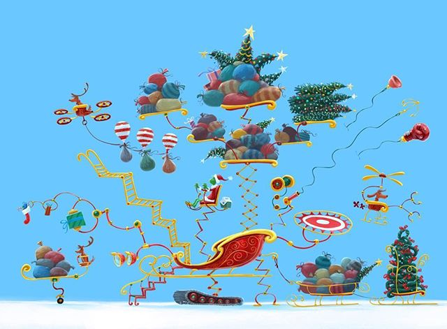 How is Grinch able to steal Christmas all in one night? Having a sleigh like this should help! ⠀⠀ #grinch #thegrinch #grinchmovie #thegrinchmovie #concept #conceptart #animation #procreate #procreateapp #art #digitalart #dailyart #design #grinchmas #christmas #santasuit #santa #funny #dog #gooddog #sleigh #fun #explodedview