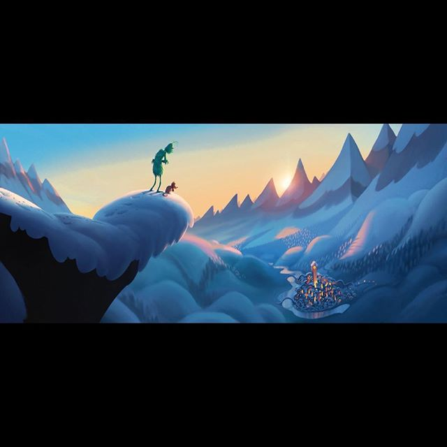 A really early concept image of Grinch and Max looking down at Who-Ville. ⠀⠀ #grinch #thegrinch #grinchmovie #thegrinchmovie #concept #conceptart #animation #film #art #digitalart #dailyart #design #photoshop #photoshopart #whoville #lonely #sunset
