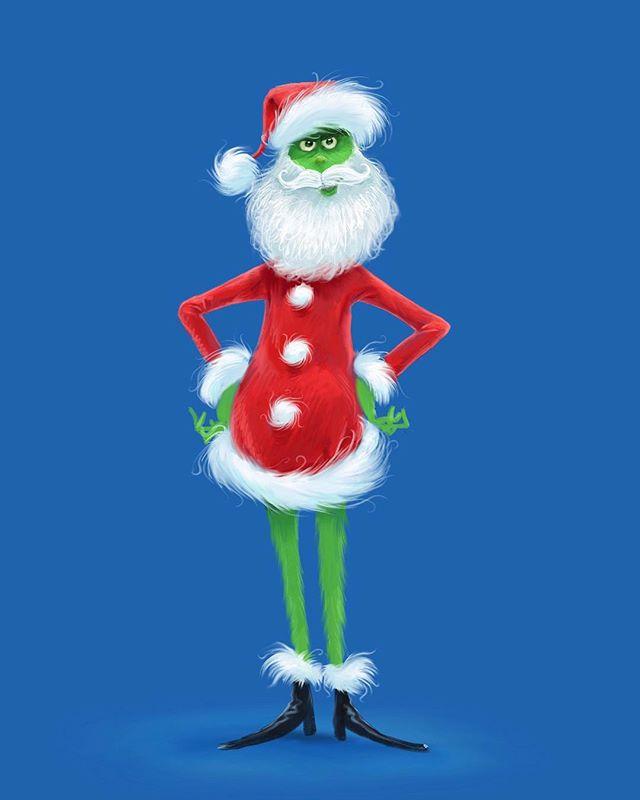 Mean, green Santa! Grinch's Santa costume design. ⠀⠀ #grinch #thegrinch #grinchmovie #thegrinchmovie #concept #conceptart #animation #characterdesign #character #drawing #draw #art #digitalart #dailyart #design #conceptsapp #procreate #procreateapp #santa #grinchmas #santasuit #christmas