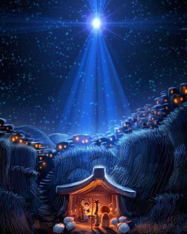 Merry Christmas and joy to the world! The shepherds arriving in an image painted years ago for The Very First Noel. #christmas #merrychristmas #nativity #peace #joy #thankyouJesus