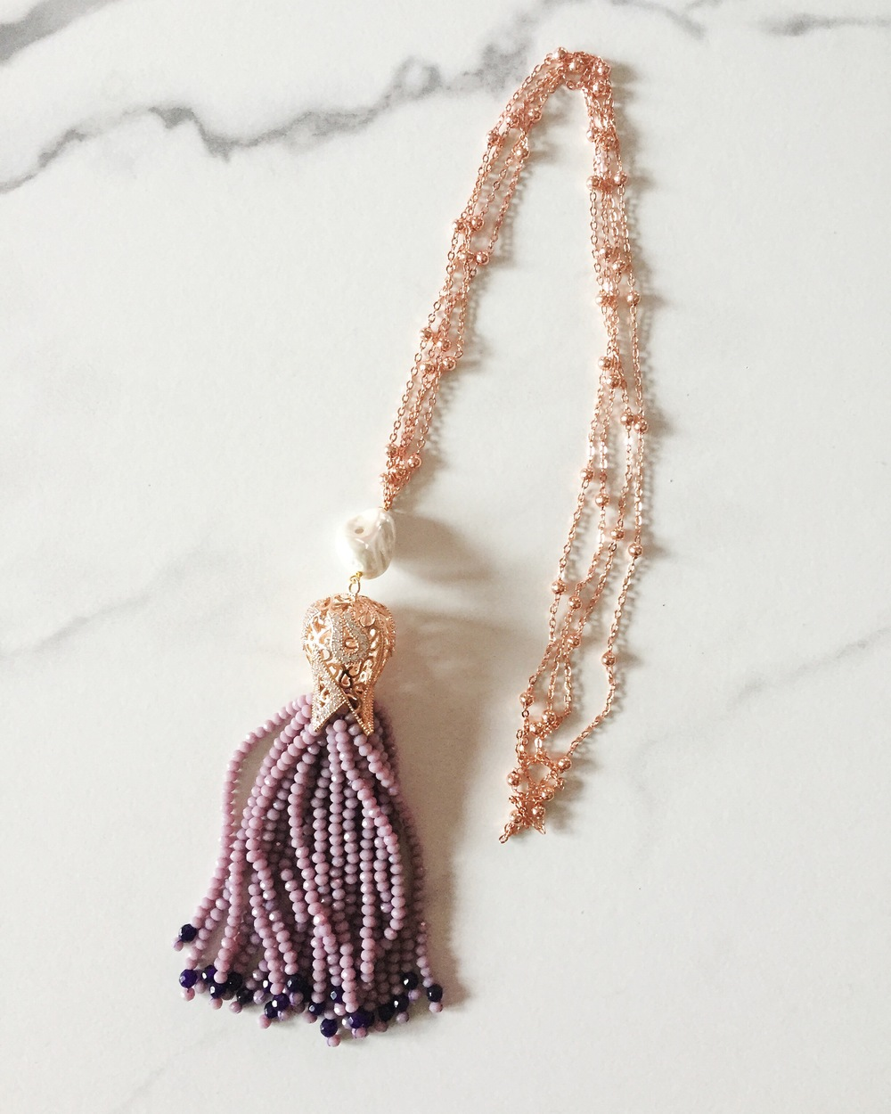 Long necklace with lilac agate fringe + pearl + rose gold plate