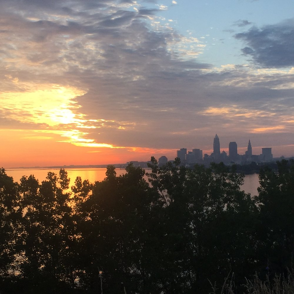 I did fairly well getting 10,000 steps most days in July. My favorite days were the ones I started by walking the dogs to the top of Edgewater Park at sunrise - these views were my reward.