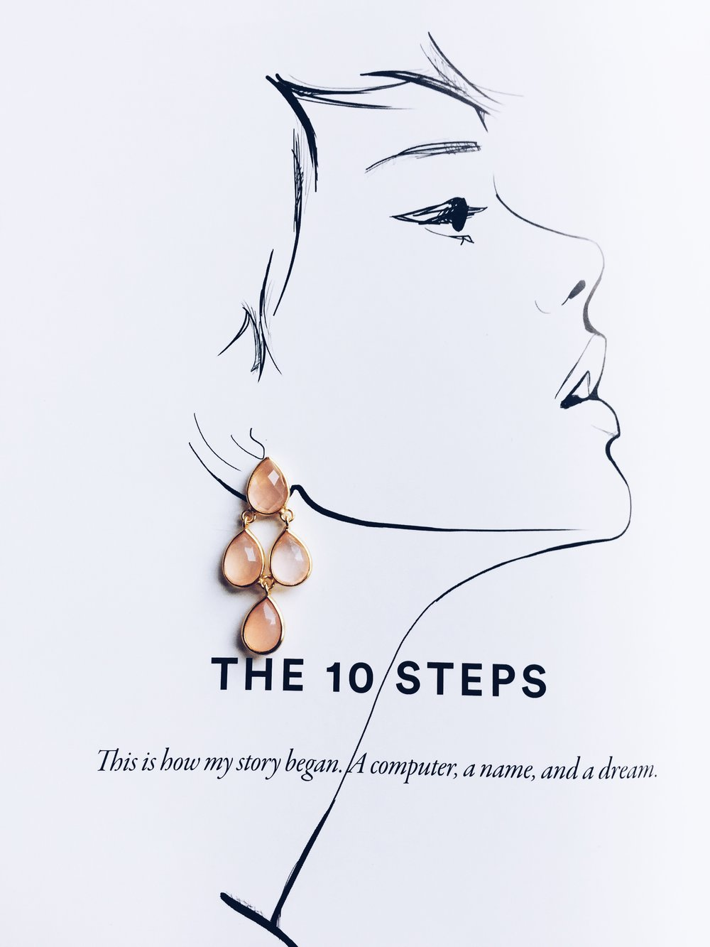 A page from Garance Dore's Love Style Life, pictured with the MALAVIKA rose quartz earrings