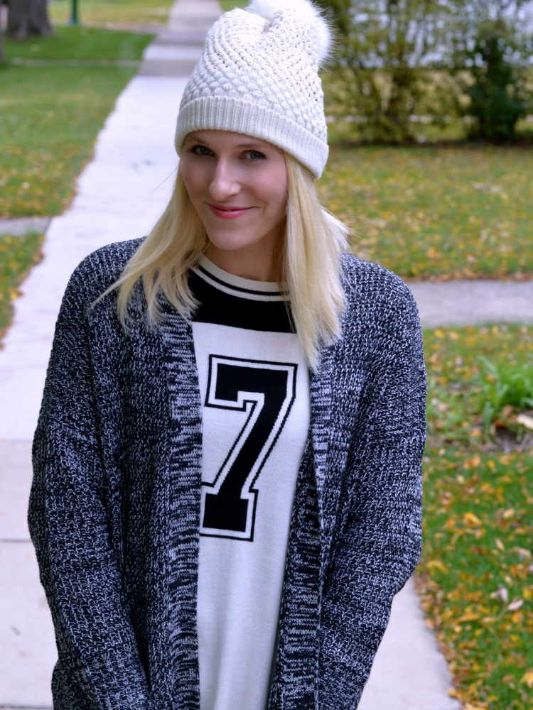 CJ from All Dressed Up with Nothing to Drink - Love this super casual look of tee with a long cozy sweater, paired with leggings!