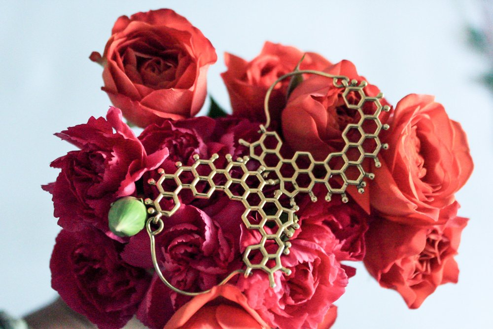 The  Capsule FOUR honeycomb earrings  and the bright flowers that would serve as inspiration later