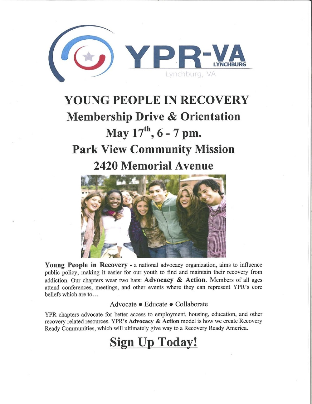 Click on the link and go to the Facebook event page to sign up.   UP Foundation Facebook event Page  If you would like more information about Young People in Recovery Lynchburg Chapter please contact us.
