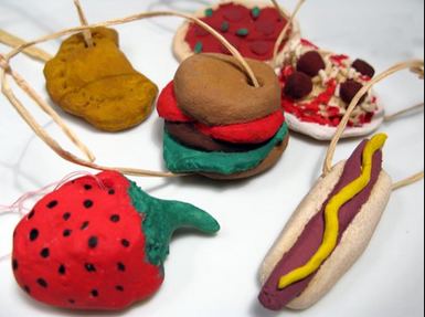 No salt dough tree is complete without a hotdog. Happy hotdog christmas!