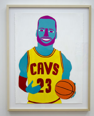 "LeBron , 2016, acrylic and pencil on paper, 30""x22"""