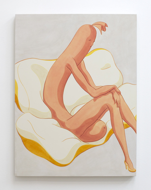 "Full Figure, Sitting Up Out of Bun, Knees Together, Wrists Limply Crossed and Resting on Knees , 2016, acrylic on linen, 24"" x 18"""
