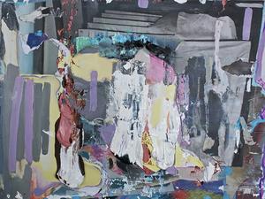 "Vanessa Navarrete,  Lark , 2013, Oil and paper collage on panel, 9"" x 12"""