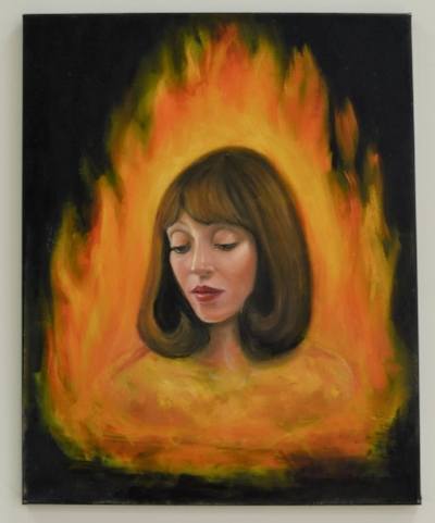 Aisling Hamrogue,  Femininity is Insanity , 2017, oil on canvas, 20 x 12 inches