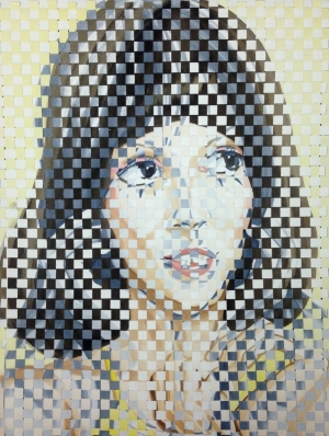 Patricia Fabricant,  Woven Shelley , 2017, gouache on paper, woven, 24 x 18 inches