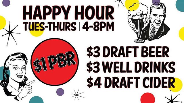 Stop in for Happy Hour! From 4-8PM Enjoy - $1PBR, $3 Draft Beer, $3 Wells, $4 Draft Cider! Come get happy with us! . . #dwntwneugene #thewaywardlamb #eugeneoregon #happyhour #pbr #drank #