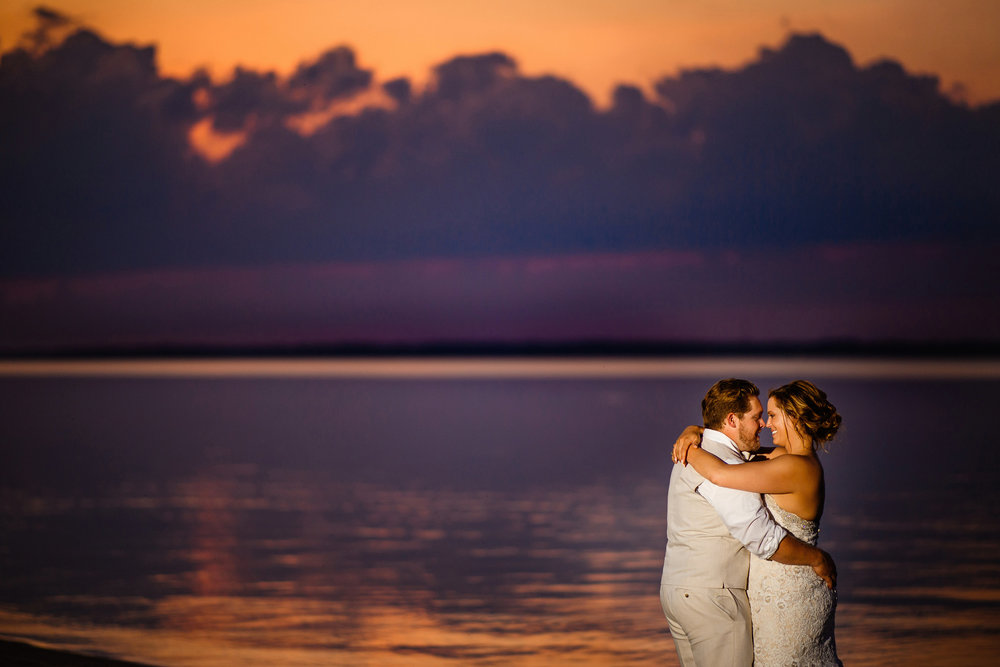 Stunning sunset portrait at an Eastern NC Wedding - Chad Winstead Photography