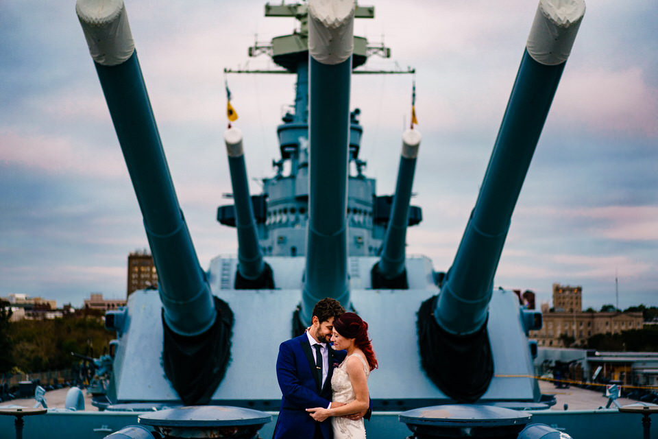 USS North Carolina Battleship Wilmington, NC Wedding Photographer