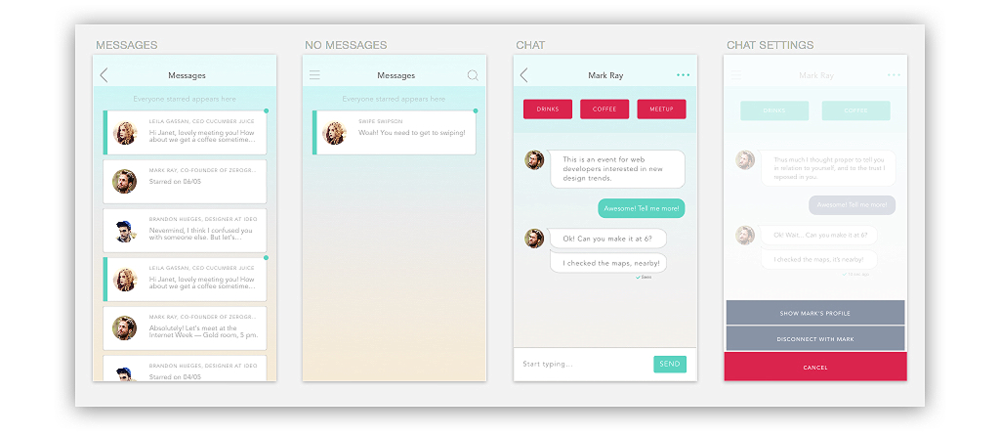 Chat window prompts users to meet via one of preferred methods: drinks, coffee or meetup.