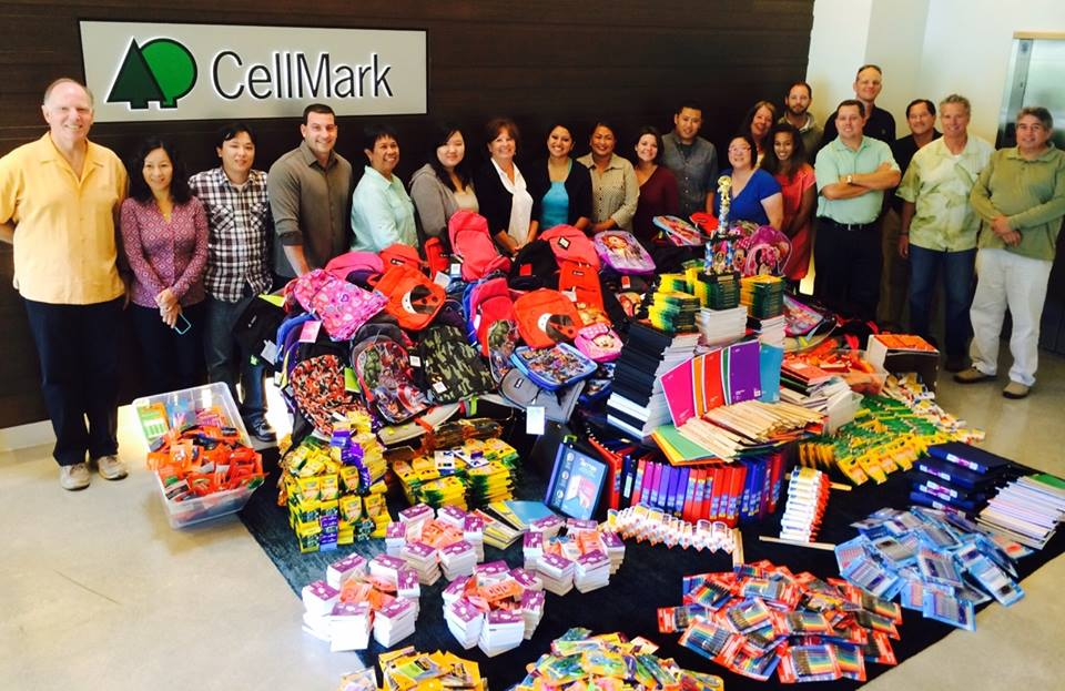 The CellMark Novato group with the incredible volume of school supplies they gathered in 2014
