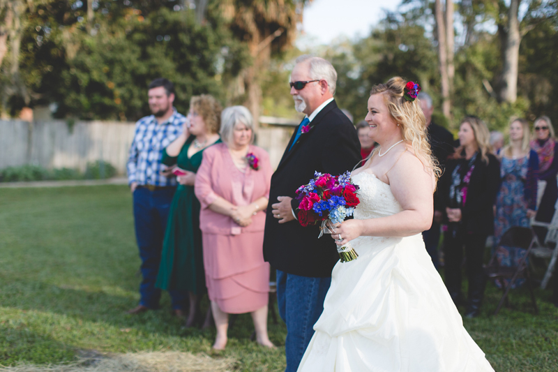 Outdoor Southern Wedding | Bride walking down aisle