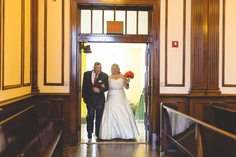 orange county regional history center intimate wedding father of the bride and bride walking down the aisle