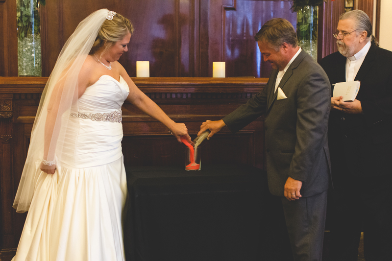 orange county regional history center intimate wedding bride and groom sand ceremony