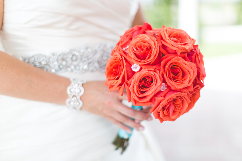 orange county regional history center intimate wedding bridal bouquet coral roses with rinestones