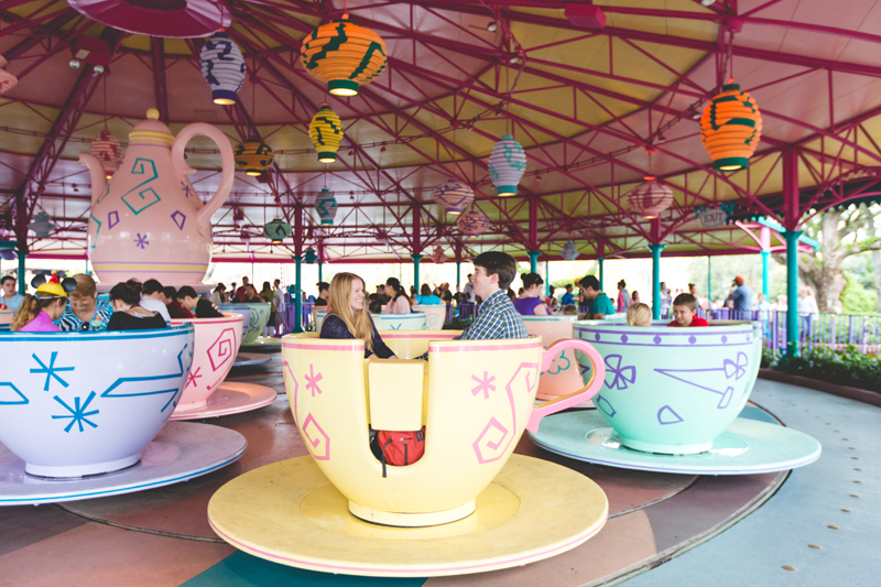 Disney Magic Kingdom Engagement Session teacups photos