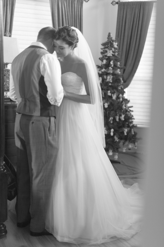 intimate wedding in a house bride and groom
