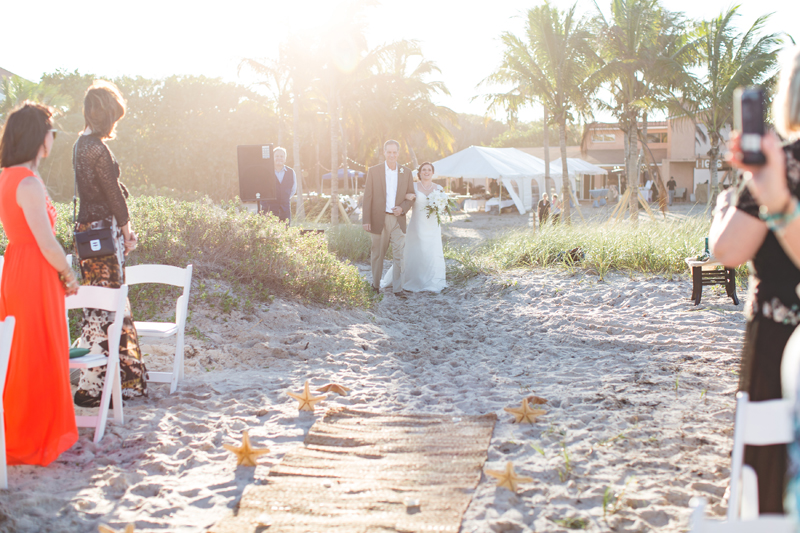 Bride walking with Father - Beach Wedding Photos - destination Orlando wedding photographer - Jaime DiOrio