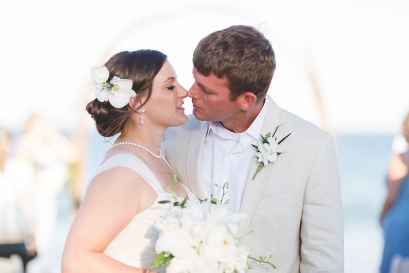 Bride and Groom almost kiss - Beach Wedding Photos - destination Orlando wedding photographer - Jaime DiOrio