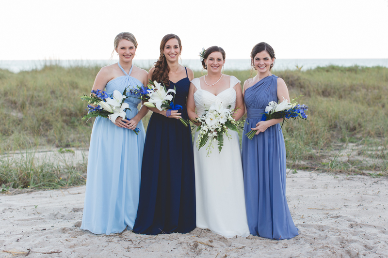 bride with bridal party - Beach Wedding Photos - destination Orlando wedding photographer - Jaime DiOrio