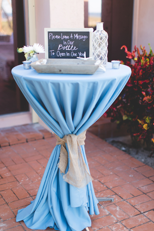 Cocktail table and guest book - Beach Wedding Photos - destination Orlando wedding photographer - Jaime DiOrio