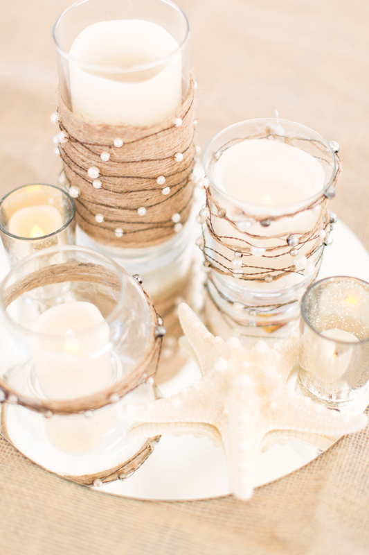 Candle and burlap beach centerpiece - Beach Wedding Photos - destination Orlando wedding photographer - Jaime DiOrio