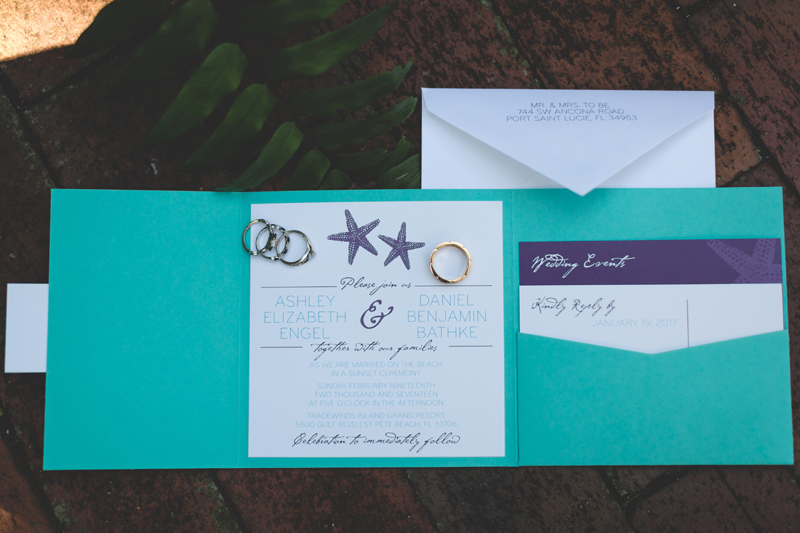 Tradewinds Island Grand Resort beach wedding - st pete beach - Jaime DiOrio Photography - Destination Orlando wedding photographer -  (7) beach themed wedding invitation - coral and purple.JPG