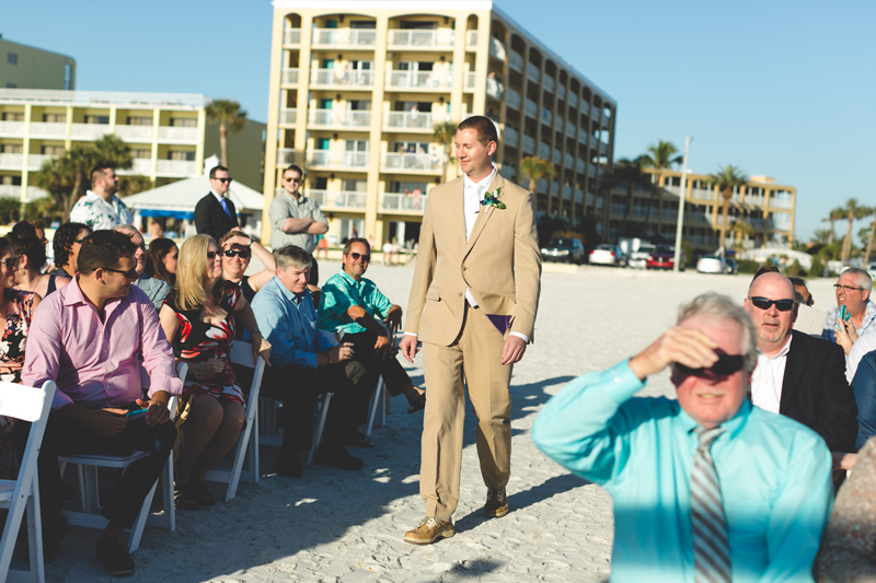 Groom walking to ceremony - Tradewinds Island Grand Resort beach wedding - st pete beach - Jaime DiOrio Photography - Destination Orlando wedding photographer -  (39).JPG