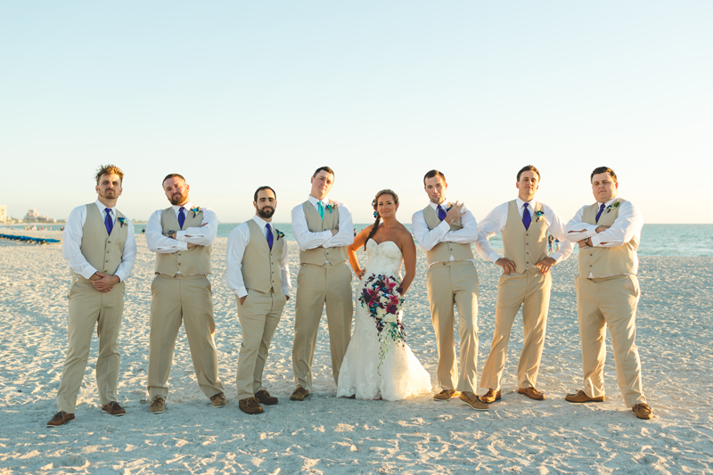 Bride with Groomsmen - Tradewinds Island Grand Resort beach wedding - st pete beach - Jaime DiOrio Photography - Destination Orlando wedding photographer -  (52).JPG