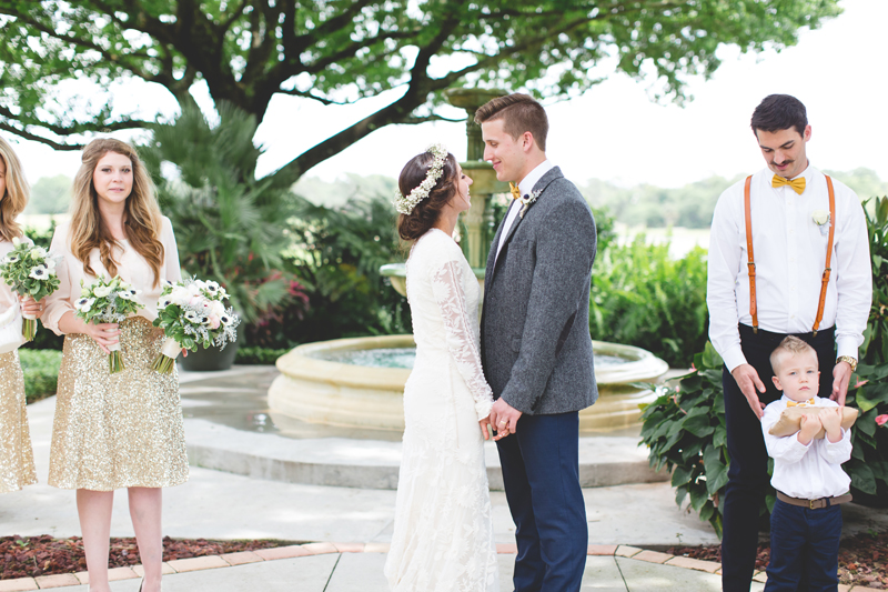 Ceremony in front of fountain - bohemian inspired outdoor wedding at Mission Inn Resort - howey in the hills fl - destination orlando wedding photographer - Jaime DiOrio (16).jpg