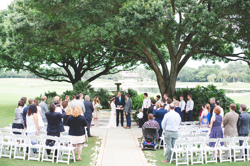 Ceremony under oak trees - bohemian inspired outdoor wedding at Mission Inn Resort - howey in the hills fl - destination orlando wedding photographer - Jaime DiOrio (60).jpg